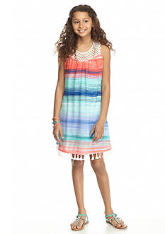 SEQUIN HEARTS girls Stripe Crochet Fringe Swing Dress Girls 7-16