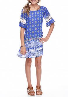 SEQUIN HEARTS girls Cold Shoulder Border Print Dress Girls 7-16