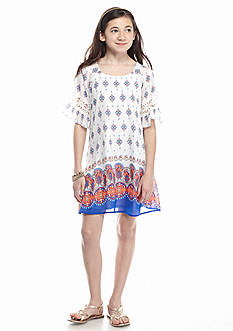 SEQUIN HEARTS girls Bell Sleeve Printed Shift Dress Girls 7-16