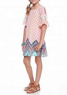 SEQUIN HEARTS girls Cold Shoulder Borderprint Dress Girls 7-16