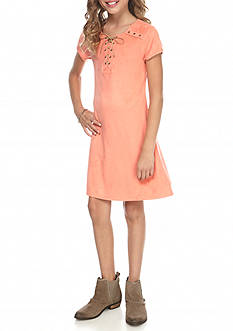 SEQUIN HEARTS girls Faux Suede Lace Up Dress Girls 7-16