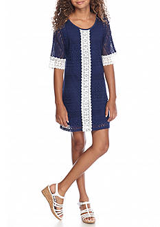 Sequin Hearts Crochet Lace Dress Girls 7-16