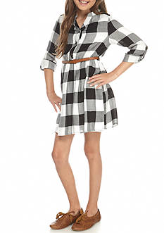 SEQUIN HEARTS girls Plaid Belted Shirt Dress Girls 7-16