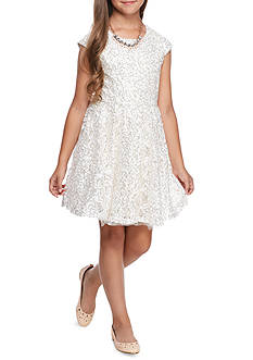 SEQUIN HEARTS girls Allover Sequin Lace Necklace Dress Girls 7-16