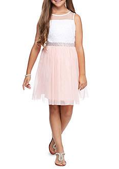 SEQUIN HEARTS girls Bodice Mesh Skirt Sleeveless Dress Girls 7-16