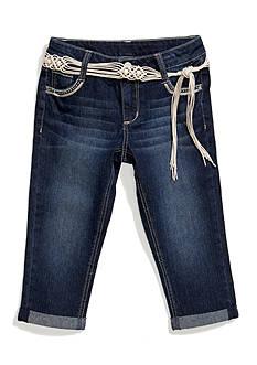 Vanilla Star Denim Cuffed Cropped Pants with Novelty Belt Girls 7-16