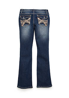 Imperial Star Boot Cut Embroidery and Glitter Denim Pant Girls 7-16