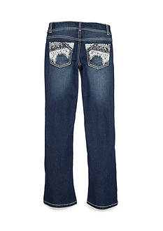 Imperial Star Dark Bootcut Lace Patchwork Pocket Jeans Girls 7-16