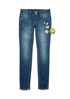 Imperial Star Skinny Double Button with Patches Jeans Girls 7-16