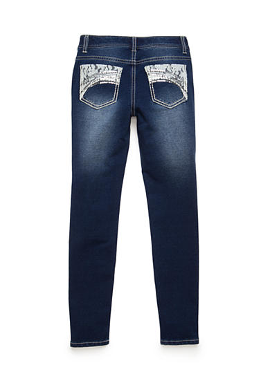Imperial Star Skinny Blue Lace Detail Pocket Jeans Girls 7-16