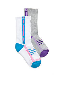 J. Khaki® Tech Crew Half Cushion Sport Socks 2-Pair Pack Girls 4-16