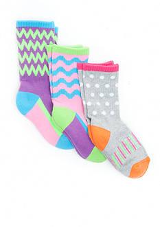 J. Khaki 3-Pack Assorted Chevron Crew Sock Girls 4-6x