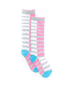 J. Khaki Chevron Knee High Sock Girls 4-6x