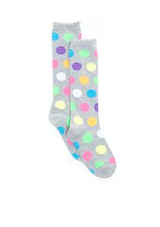 J. Khaki Polka Dot Knee High Sock Girls 4-6x