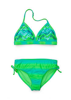 Angel Beach 2-Piece Chevron Sequin Ombre Bikini Girls 7-16