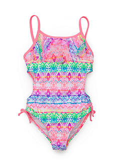 Angel Beach Spectrum Printed Ruffle One Piece Swimsuit Girls 7-16