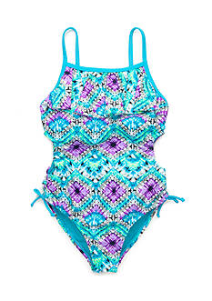 Angel Beach Patched Tribal 1-Piece Swimsuit Girls 7-16
