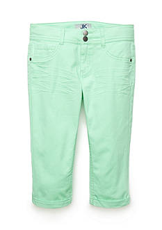 JK Indigo Solid Twill Cropped Pants Girls 7-16