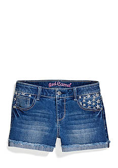 Red Camel Girls® Cuffed Jean Short with Embroidered Daisies Girls 7-16