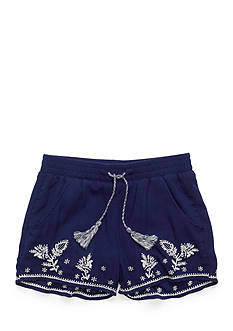 Red Camel Embroidered Crinkle Shorts Girls 7-16
