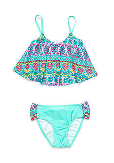 J. Khaki 2-Piece Multi Print Flounce Tankini Set Girls 7-16