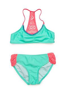 J. Khaki 2-Piece Crochet Inset Bikini Girls 7-16