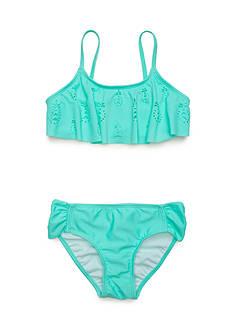 J. Khaki Lasercut Pineapple 2-Piece Swimsuit Girls 7-16