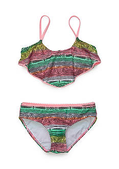 J Khaki™ 2-Piece Tribal Flounce Bikini Set Girls 7-16