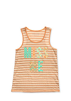 Miss Me Girls Printed Logo Striped Tank Top Girls 7-16