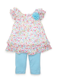 Marmellata 2-Piece Floral Printed Top and Capri Set Girls 4-6x