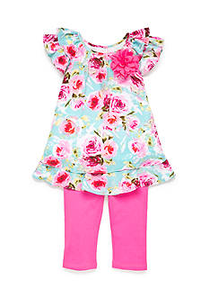 Marmellata 2-Piece Flower Print Ruffle Top and Solid Capri Set Girls 4-6x