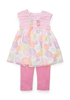 Marmellata 2-Piece Stripe to Polka Dot Tunic and Capri Set Girls 4-6x