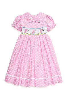 Marmellata Smock Polka Dot Butterfly Dress Girls 4-6x