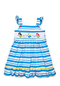 Marmellata Mermaid Smocked Stripe Dress Girls 4-6x