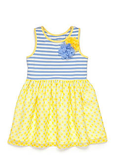 Marmellata Stripe Knit to Daisy Chiffon Dress Girls 4-6x