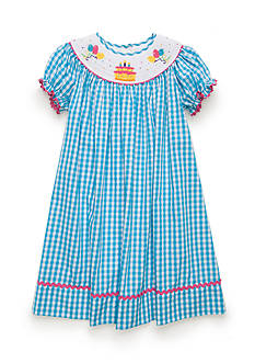Marmellata Short Sleeve Gingham Birthday Smocked Dress Girls 4-6x