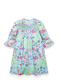 Marmellata Printed Bird Smocked Dress Girls 4-6x