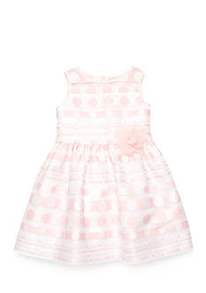 Marmellata Shadow Striped And Polka Dot Dress Girls 4-6x