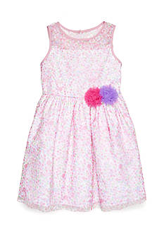 Marmellata Pink Ilusion Neck Dress Girls 4-6x