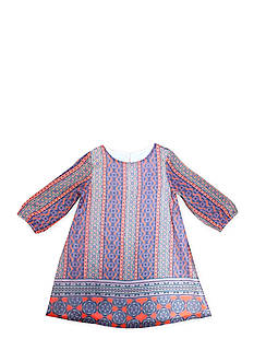 Marmellata Long Sleeve Coral Stripe Chiffon Dress Girls 4-6x