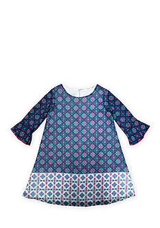 Marmellata Long Sleeve Navy Border Chiffon Dress Girls 4-6x