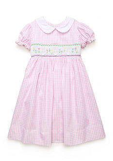 Marmellata Pink Bunny Smock Dress Girls 4-6x