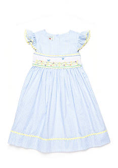Marmellata Blue Bird Smock Dress Girls 4-6x