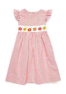 Marmellata Floral Gingham Smock Dress Girls 4-6x