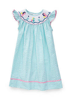 Marmellata Seahorse Bishop Smock Dress Girls 4-6x