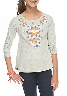 Lucky Brand Tribal Embroidered Top Girls 7-16