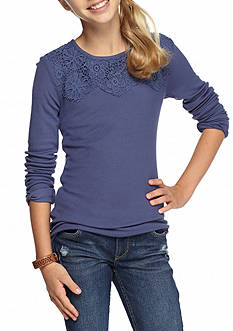 Lucky Brand Ribbed Crochet Lace Top Girls 7-16