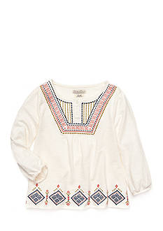 Lucky Brand Geo Embroidered Flutter Sleeve Peasant Top Girls 7-16