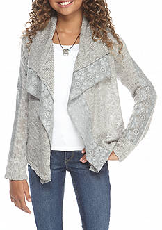 Lucky Brand Square Cozy Knit Cardigan Girls 7-16