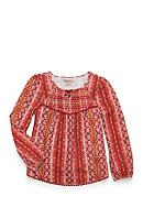 Lucky Brand Printed Smocked Long Sleeve Top Girls